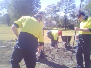 National Green Jobs Corps setting up the base for our Mandala Garden.