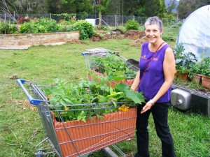 Kim Towner of The Happy Frog collecting her new trolley gardens